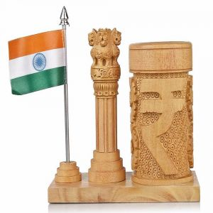 Mariyam Pen Holder With National Flag & Ashok Stumbh