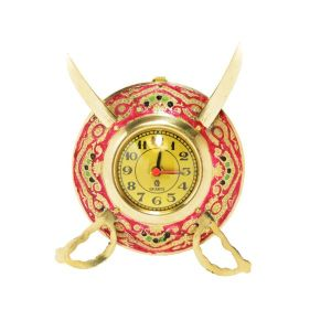 Mariyam Brass Dhal Talwar Brass Analog Wall Clock 15 Cms