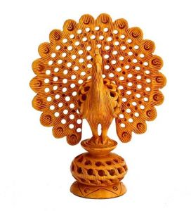 Mariyam Wooden Net Super Dancing Peacock Showpiece