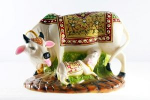 Mariyam Marble Gold Painted Stoneware Decorative Cow With Carved Baby Showpiece