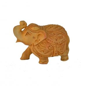Mariyam Wooden Carved Royal Elephant Showpiece