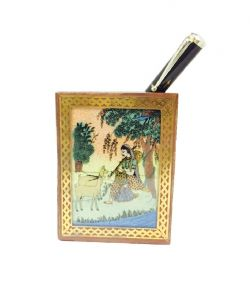 Mariyam Traditional Sheesam Wooden Pen Stand With Ragini Painting