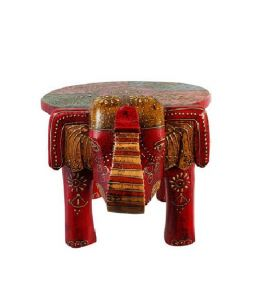 Stools - Mariyam Wooden Emboss painting Elephant Stool Showpiece