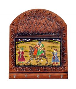 Mariyam Wooden Rajasthani Hand Painted Letter And Key Holder