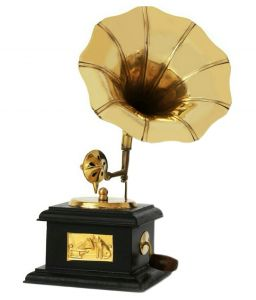 Brass Handicrafts - Mariyam Antique Wooden and Brass Gramophone Home Decor Traditional Showpiece