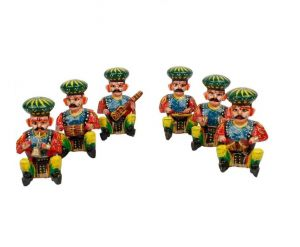 Mariyam Wooden Multicolor Traditional Rajasthani Musician Bawla 6 Of Set 6 Cm
