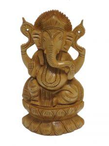Wooden Handicrafts - Wooden Ganesha statue on kamal showpiece