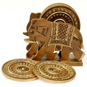 Mariyam Wooden Elephant Design Tea Coaster