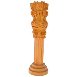 Wooden Handicrafts - Mariyam Wooden Ashoka Pillar Showpiece 6'