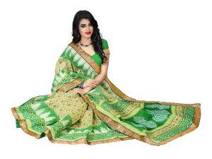 Silk Sarees - Kotton Mantra Green Cotton Silk Lace Border Designer Saree With Blouse Piece (KMBB7006A)