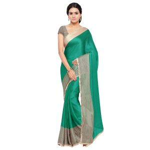 Kotton Mantra Green Satin Lace Border Designer & Party Wear Saree With Blouse Piece (code - Kmix1180-a)