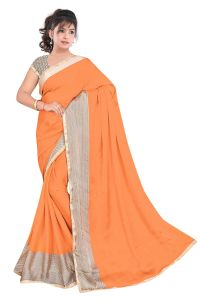 Kotton Mantra Orange Satin Designer & Party Wear Saree With Unstitched Blouse Piece (kmix1180m)