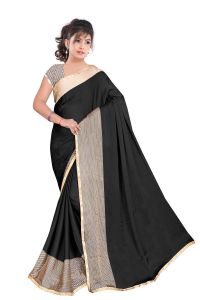 Kotton Mantra Black Satin Designer & Party Wear Saree With Unstitched Blouse Piece (kmix1180n)