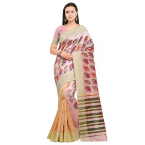 Kotton Mantra Pink & Orange Cotton Silk Weaving With Beautiful Digital Print Designer Saree With Blouse Piece (code - Kmprem07)