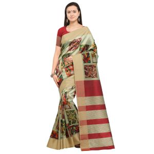 Kotton Mantra Multicolor Cotton Silk Weaving With Beautiful Digital Print Designer Saree With Blouse Piece (code - Kmprem09)