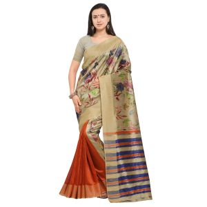 Kotton Mantra Brown & Orange Cotton Silk Weaving With Beautiful Digital Print Designer Saree With Blouse Piece (code - Kmprem10)