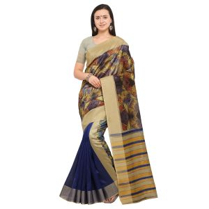 Kotton Mantra Golden & Blue Cotton Silk Weaving With Beautiful Digital Print Designer Saree With Blouse Piece (code - Kmprem11)