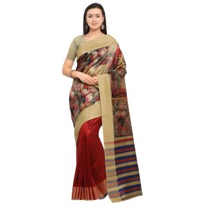 Kotton Mantra Beige & Red Cotton Silk Weaving With Beautiful Digital Print Designer Saree With Blouse Piece (code - Kmprem12)