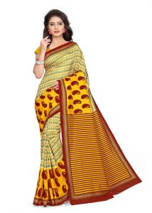 Kotton Mantra Yellow Silk Printed Designer Saree With Unstitched Blouse Piece (kmsilk15)