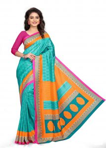 Kotton Mantra Blue Silk Printed Designer Saree With Unstitched Blouse Piece (kmsilk16)