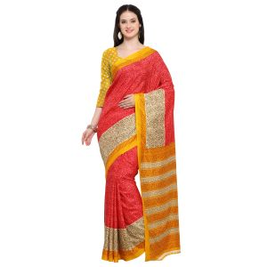 Kotton Mantra Red Silk Printed Designer Saree With Blouse Piece (code - Kmtk01)
