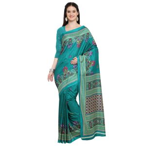 Kotton Mantra Sea Green Silk Printed Designer Saree With Blouse Piece (code - Kmtk02)