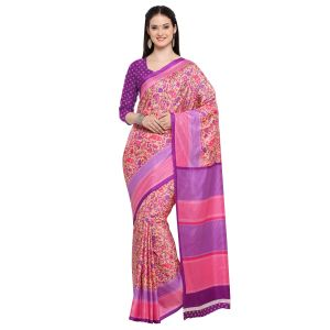 Kotton Mantra Pink Silk Printed Designer Saree With Blouse Piece (code - Kmtk03)