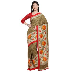 Kotton Mantra Brown Silk Printed Designer Saree With Blouse Piece (code - Kmtk04)