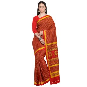 Kotton Mantra Red Silk Printed Designer Saree With Blouse Piece (code - Kmtk08)