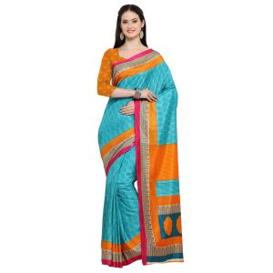 Kotton Mantra Blue Silk Printed Designer Saree With Blouse Piece (code - Kmtk11)