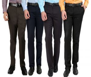 Menswear ,Mens Footwear ,Men's Accessories  - GWALIOR PACK OF 4 STITCHED FORMAL TROUSERS