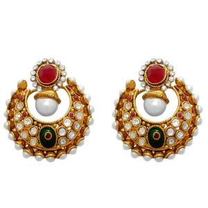 La Trendz Fashion New Ruby Green Enamel Traditional Chandelier Design Earrings(crg1)