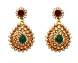 La Trendz Fashion New Drop Shape Green Ethnic Dangle Earrings(lt1048)