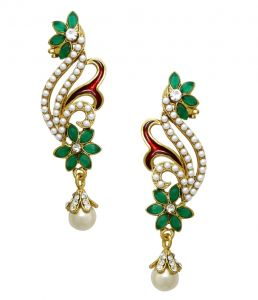 La Trendz Ruby Green Gold Plated Jhumki Earring ( Lt2039)