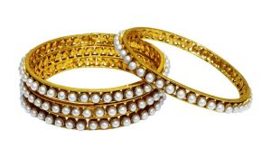 La Trendz Royal Pearl Gold Plated Bangles For Women(lt2260)