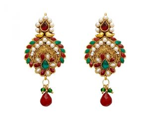 La Trendz Fashion New Traditional Ruby Green Classic Design Earrings(lt948)