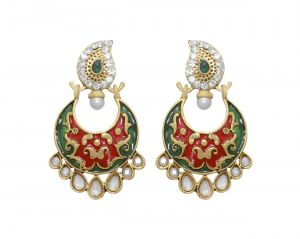 La Trendz Designer Rani And Green Enamel Earring(lt962)