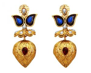 La Trendz Fashion New Almond Shape Blue Ruby Earrings(lt968bm)