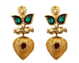 La Trendz Fashion New Almond Shape Ruby Green Earrings(lt968mg)
