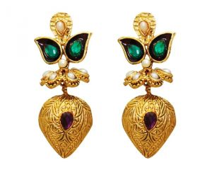 La Trendz Fashion New Almond Shape Purple Green Earrings(lt968pg)