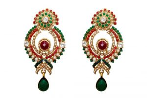 La Trendz Fashion New Ethnic Ruby Green Green Earrings(lt987mg)