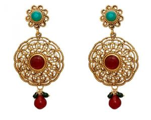 La Trendz Fashion New Bollywood Ruby Green Earrings(lt995mg)