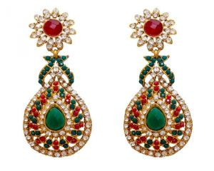 La Trendz Fashion New Ruby Green Dangle Earrings(lt996mg)