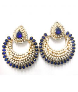 Heart shaped jewellery - La Trendz Designer Royal Blue Crecent Earring(LT1002)