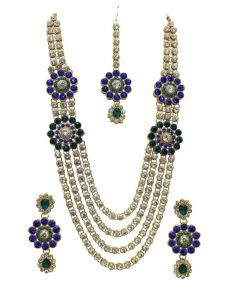 La Trendz Gold Alloy Necklace Set With Maang Tika(lt1429)