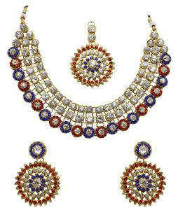 La Trendz Gold Alloy Necklace Set With Maang Tika(lt1431)