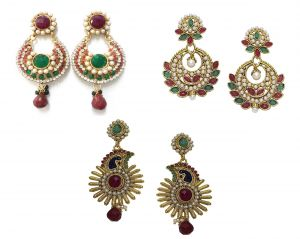 La Trendz Multicolour Polki Earring Combo Set Of 3