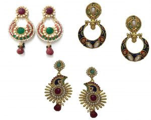 La Trendz Multicolour Traditional Earring Set Of 3