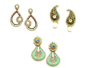La Trendz Multicolour Enamel Earring Combo Set Of 3