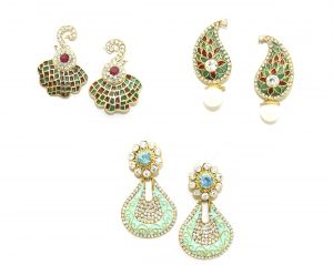 La Trendz Maroon Green And Blue Enamel Earring Combo St Of 3